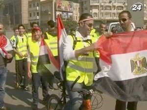 Акция проходит по случаю недели отставки президента Хосни Мубарака