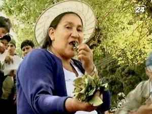 Люди демонстративно жевали коку перед посольством США