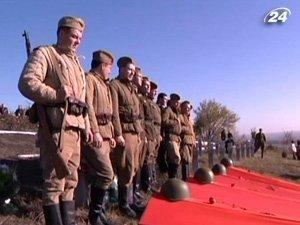 Перезахоронение 50 советских воинов на Запорожье