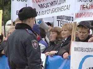 Защитить свой бизнес вышли под стены парламента предприниматели со всей Украины