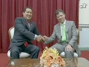 Президент Венесуэлы Уго Чавес и президент Колумбии Хуан Мануэль Сантос