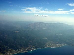 Вид с самолета на остров Родос