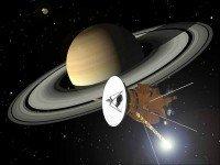 Визуализация «Кассини» на фоне Сатурна