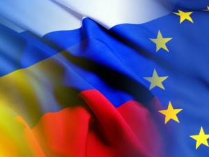 Флаги ЕС, России и Украины