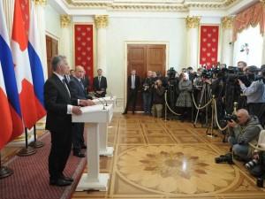 Пресс-конференция Владимира Путина и Дидье Буркхальтера. Фото пресс-службы Президента России