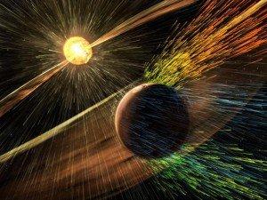 Воздействие Солнца на атмосферу Марса. Фото NASA